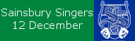 The Sainsbury Singers at St Peters, 3pm December 12
